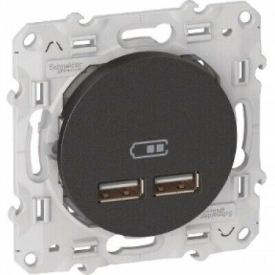 Prise chargeur USB - 2 x USB - Anthracite - Odace SCHNEIDER