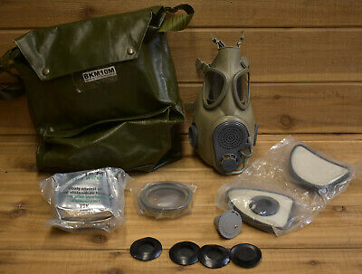 New Surplus Czech Republic M10 Gas mask Kit w/ Filters, Lenses, Bag and more
