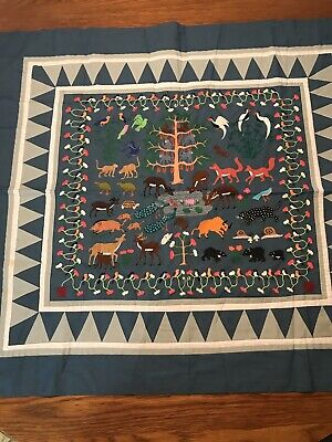 34x31 Hand Embroidered Animals & Hand Pieced Table Topper/Wall Hanging