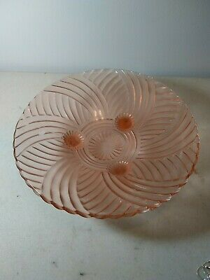 "Vintage Pink Depression Glass 10"" three-foot Spiral Optic Swirl 3 Footed Bowl"