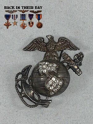 WW2 WWII US Marine Corps Sterling Silver Sweetheart Pin, Eagle Globe & Anchor