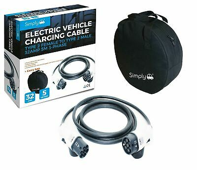 Electric Car Charging Cable fits Audi A3 e-tron 5m 32Amp Type 2 to Type 2 7.2kW