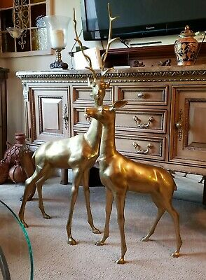 Extra LARGE Brass Deer Statues