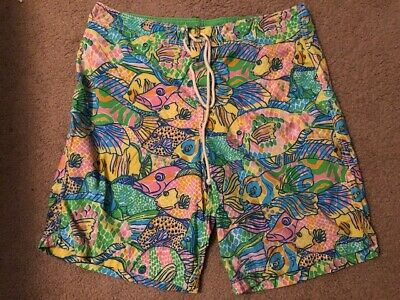 Lilly Pulitzer Via Palm Beach Pastel Colorful Fish Mens Size 36 Board Shorts