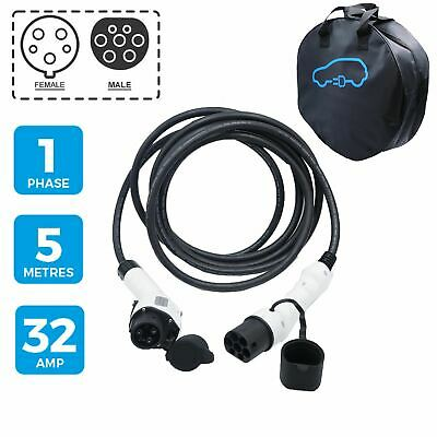 Electric Car Charging Cable fits Smiths Newton 5m 32Amp Type 1 to Type 2 7.2kW