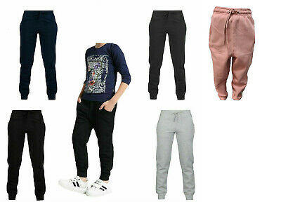 Kids Boys Girls Sports Jogging Joggers Cuff Fleece Trouser Sweat Pants Ages 1-12