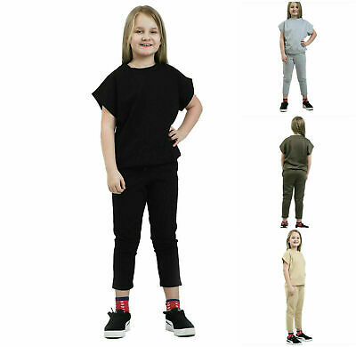 Girls Children Short Sleeve Boxy Tracksuit Top Bottom 2 2pc Ribbed Loungewear
