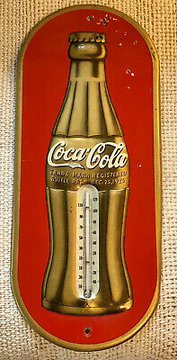 RARE 1938 Red & Gold Coca Cola Christmas Bottle Thermometer--Original Beauty!