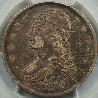 1838 Reeded Edge 50C PCGS XF40 & CAC Capped Bust Half Dollar Nice Original Coin