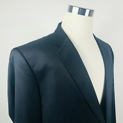 Joseph & Feiss Mens 48L Sport Coat 100% Wool Navy Blue Two Button Lined Vented