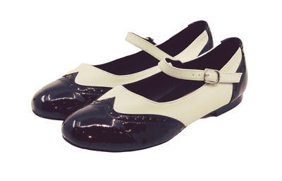 Ladies Mary Jane Leather Dance Shoe in Black and White