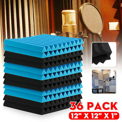 12-48PCS Acoustic Panels Tiles Studio Sound Proofing Insulation Black & Blue