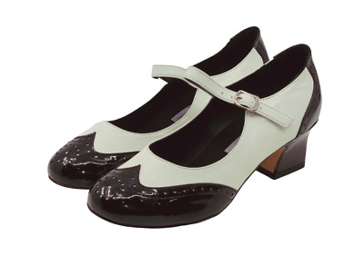 Ladies Vintage inspired Leather Dance Shoe in Black and White