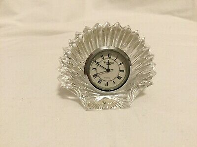Waterford Crystal Glass Scallop Sea Shell Desk Desk Table Clock