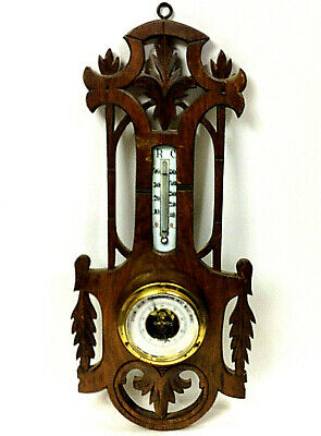 Antique Barometer Thermometer Wood Carved Weather Station