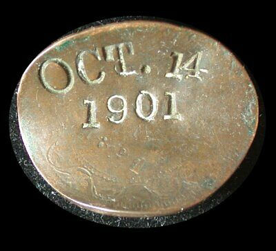 Interesting Canadian 1891 Large Cent with impressed date OCT 14 1901