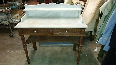 Antique Marble Top Walnut 2 drawer Base - Wonderful Wash Stand / Prep Table