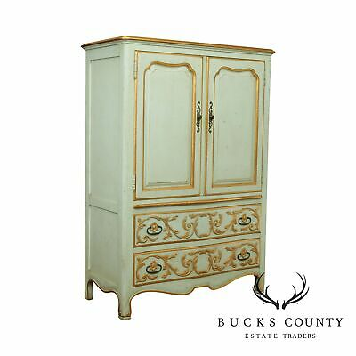 John Widdicomb French Regency Style Vintage Partial Gilt Painted Armoire Chest