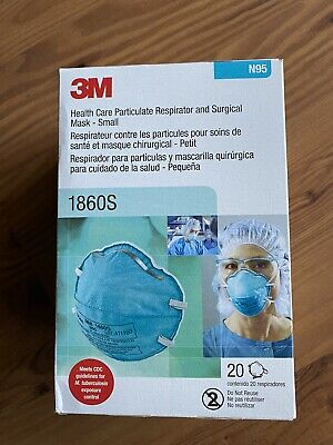 3M 1860S N95 Health Care Respirator And Surgical Mask SMALL 20 Count EXP 09/2024
