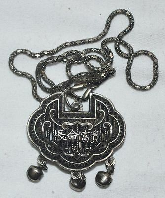 China Folk Traditional Jewely Silvering Copper Lock Statue Amulet Pendant Gift 2