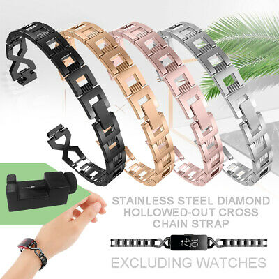 Replacement Diamond Metal Hollow Strap Wrist Band for Fitbit inspire/inspire HR