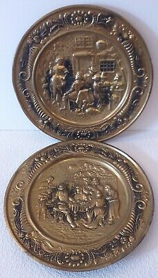 VINTAGE Brass Plate Charger Wall Decor - 36 cm - Made in England - Tavern Scenes