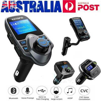 VicTsing Wireless Bluetooth LCD Car FM Transmitter USB Charger Handsfree Kit AUX