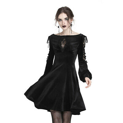 Dark In Love Gothic Goth Okkult Vintage Samt Minikleid - Lace-Up Puff