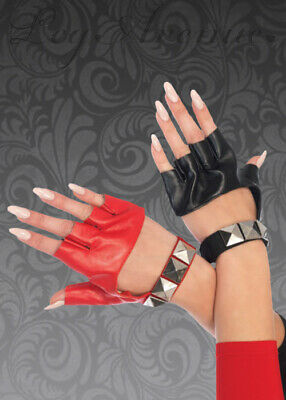 Womens Harley Quinn Style Red and Black Gloves