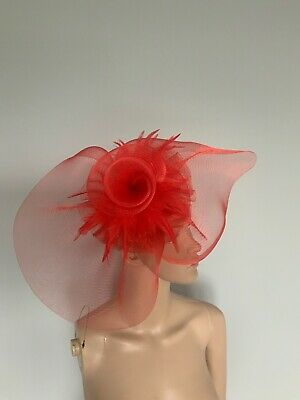 Extra Large Red Statement Hair Clip Fascinator Wedding Ladies Day Accessories