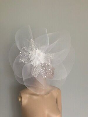 Extra Large White Statement Fascinator Clip Wedding Ladies Day Accessories