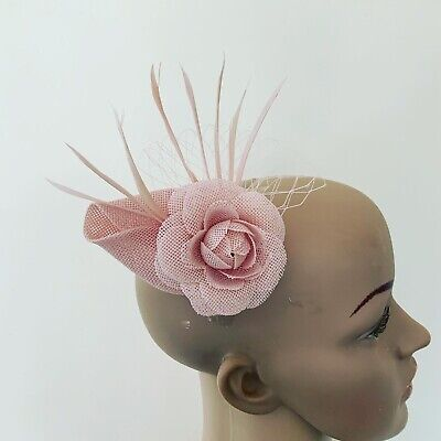 Pale Blush Pink Hair Clip Small Fascinator Ladies Race Day Wedding