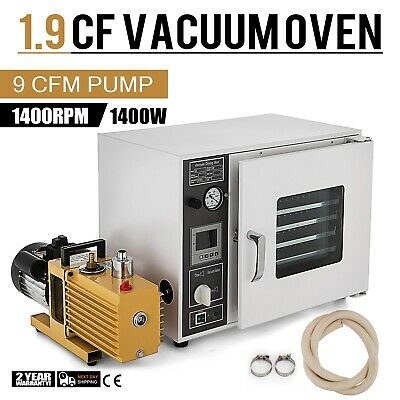 1.9 CF Vacuum Oven w/ EasyVac 9 cfm 2-Stage Pump 5-Sided UL/CSA Certified 110V