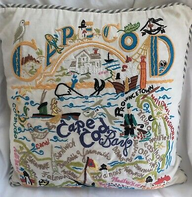 Cats Studio 2004 Cape Cod Hand Embroidered 20x20 Button Back Pillow  Cover