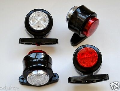White Marker Lights 2 2 x Trailer Mudguard Towing Red