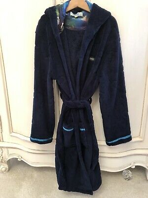 Ln Ted Baker Boys Navy Fleece Dressing Gown Robe Age 9-10 Hardly Worn