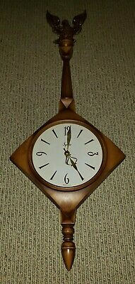 "Vintage Syroco Mid Century Banjo Wall Clock Plastic Eagle CAW! 35"" x 13"" Tested"