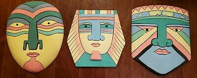 Vintage 60s 70s Lot Abstract Colorful Wall Masks Faces Carved Wood Hanging Art
