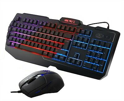 Gaming Keyboard And Mouse Set USB Rainbow 3 Color LED For PC Laptop Xbox PS4