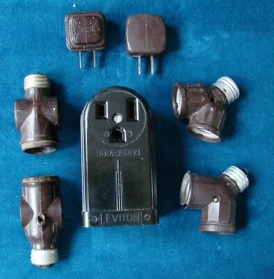 Lot 0F 7 Lamp Light Adapters , Outlet Plugs & Surface Mount Receptable