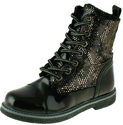 New Girls Insulated Warm Boots Zip Laces Black Gold Snake Print School Shoes Uk