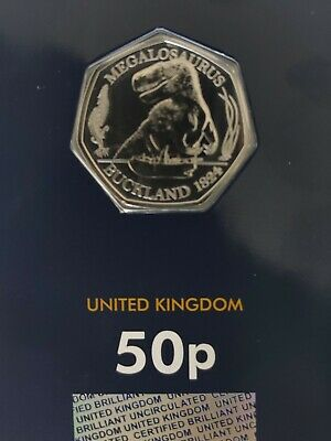 2020 Royal Mint UK Megalosaurus CERTIFIED BU 50p on Blue Card Uncirculated