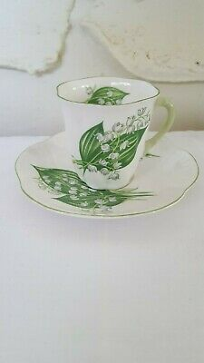 "SHELLEY FINE BONE CHINA TEA SET ""Lily of the Valley"" CUP & SAUCER Demi"