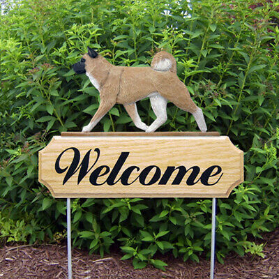 Akita Wood Welcome Outdoor Sign Fawn
