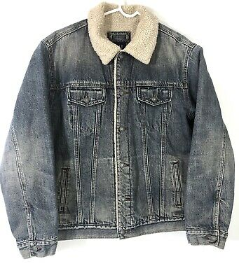 Gap Men's 2003 Sherpa Lined  Denim Jean Jacket Trucker Western size Large