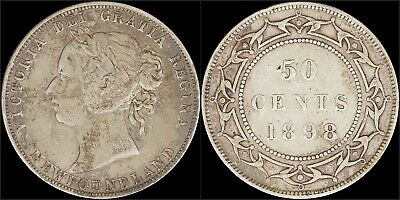 1898 Silver 50 Cents Coin Newfoundland Canada Catalog KM# 6 Queen Victoria Old