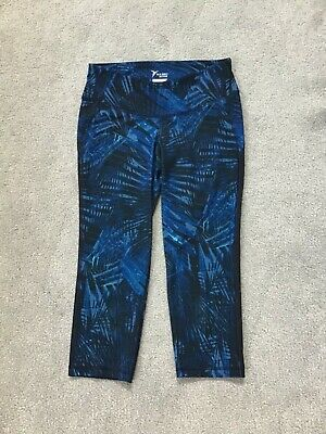 Women's Old Navy Active Go-Dry Blue/Black Cropped Compression Pants - Small EUC