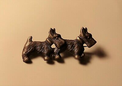 """Vintage Pewter pin - 2 Scottie Dogs - 2"""" in length"""