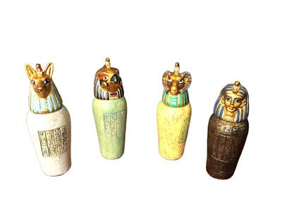 4 Small Egyptian Canopic Jars Resin Hand Painted Veronese Studio Collections