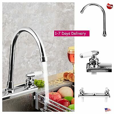 Commercial Kitchen Sink Faucet 2 Handles Double Holes Stainless Steel Sprayer